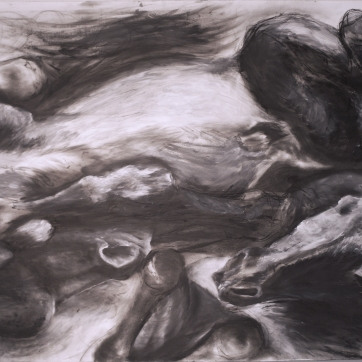 28x40 gesso, graphite, & charcoal on paper on panel